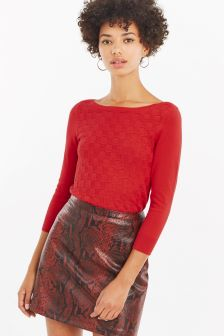 Oasis Red Tiffany Textured Jumper