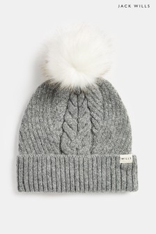 Jack Wills Grey Dorchester Cable Hat