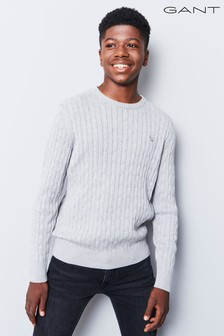 GANT Teen Grey Cotton Cable Knit Jumper