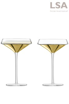 Set of 2 LSA International Space Gold Cocktail Glasses