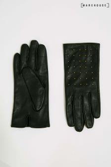 Gants Warehouse noirs en cuir clouté