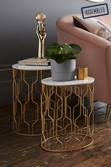 Ella Gold Nest Of 2 Tables