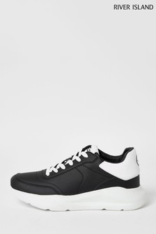 River Island Black Chunky Runner Trainers With White Tab