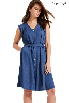 Phase Eight Blue Laurie Pinspot Dress