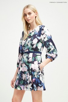 French Connection Blue Floral Fit And Flare Dress