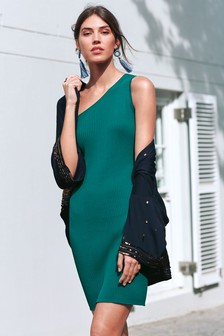One Shoulder Rib Dress