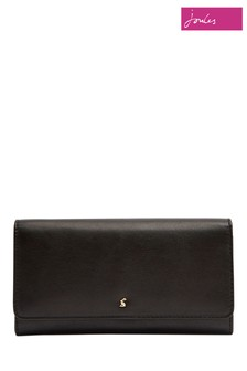 Joules Black Tally Flap Over Leather Purse