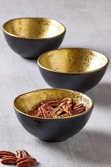 Set of 3 Gold Speckle Dip Bowls