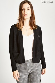 Jack Wills Black Wingate Cable Cardigan