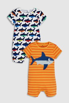 Shark/Stripe Rompers Two Pack (0mths-2yrs)