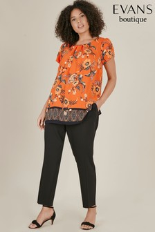 Evans Black Henna Pull-On Trousers