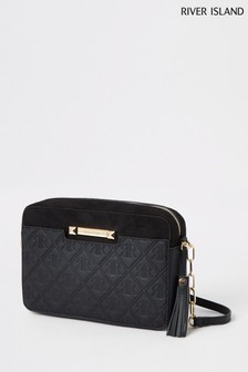 River Island Black Monogram Boxy Cross Body Bag