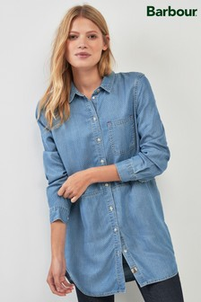 Barbour® Blue Chambray Textured Longline Denim Shirt