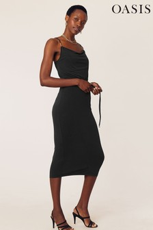 Oasis Black Cowl Neck Cami Dress