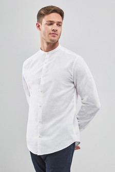 Linen/Cotton Grandad Collar Long Sleeve Shirt