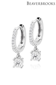 Beaverbrooks Silver Cubic Zirconia Drop Hoop Earrings