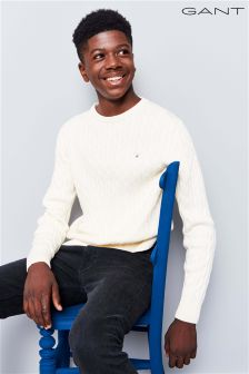 GANT Teen Cream Cotton Cable Knit Jumper