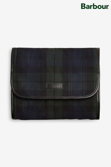 Barbour® Tartan Wax Black Hanging Wash Bag