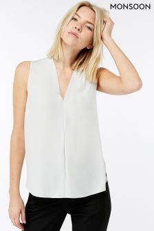 Monsoon Grey Carmel Sleeveless Blouse