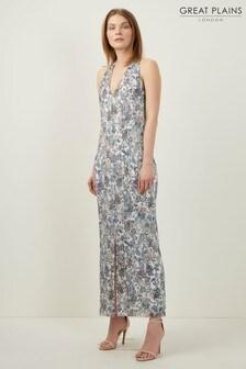 Great Plains White Juno Sea Flower V-Neck Maxi Dress