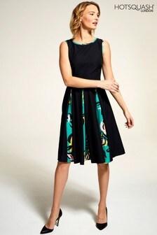 HotSquash Black Box Pleat Contrast Midi Dress