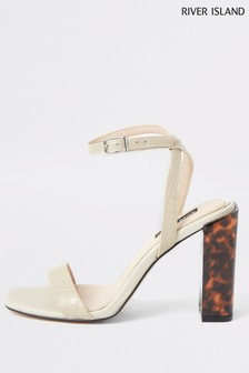 River Island White Twinkle Two Part Block Heels