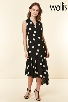 Wallis Black Petite Halter Spot Dress