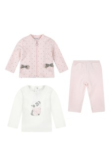Baby Girls White & Pink Cotton Trousers 3 Piece Set