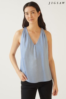 Jigsaw Blue Sleeveless Gathered Top