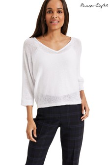 Phase Eight White Delmi V-Neck Linen Batwing Top