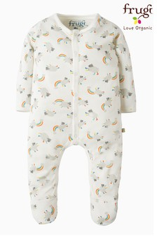 Frugi White My First Little Lambs Organic Cotton Babygrow