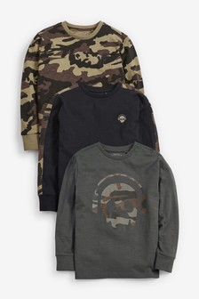 3 Pack Camo Long Sleeve Tops (3-16yrs)