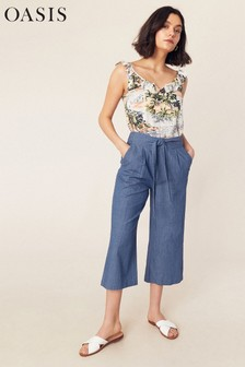 Oasis Blue Chambray Wide Leg Trouser