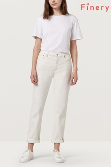 Finery Moody White Clara Kick Flare Cord Trouser