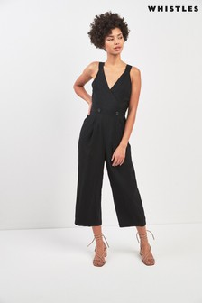 Whistles Black Lara Button Jumpsuit