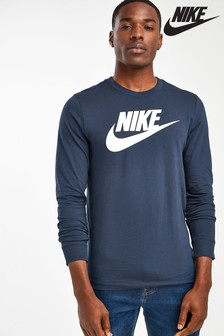 Nike Futura Navy Long Sleeved T-Shirt
