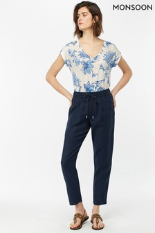 Monsoon Ladies Blue Fame Linen Jogger