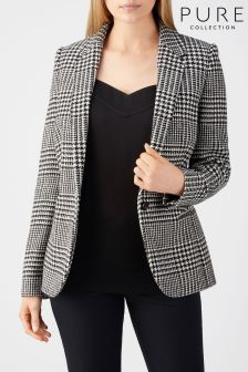 Pure Collection Black/White Check Tailored Blazer