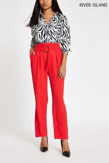 River Island Petite Red Ring Detail Tapered Trouser