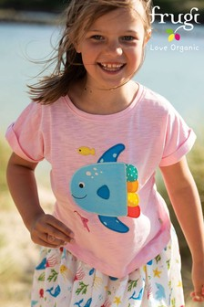 Frugi Pink GOTS Organic Top In Pink With A Fish Appliqué