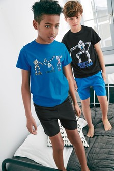 Best Mates Robot Graphic Pyjamas Two Pack (3-16yrs)