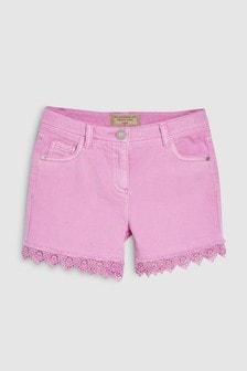 Lace Hem Denim Shorts (3-16yrs)