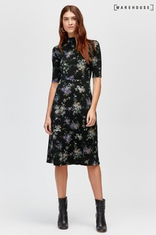 Warehouse Black Pattern Brushed Bloom Midi Dress