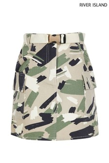 River Island Khaki Camo Utility Belted Skirt
