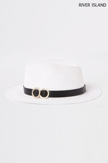 River Island White With Black Trim Hat