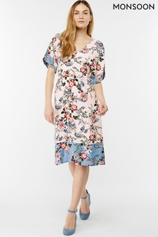 Monsoon Cream Klara Print Kimono Dress