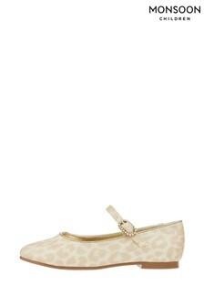 Monsoon Eloise Gold Leopard Shimmer Ballerinas