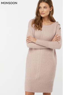 Monsoon Ladies Nude Rosie Ribbed Button Shoulder Dress