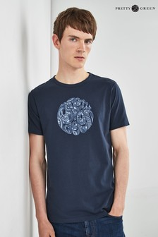 Pretty Green Navy Paisley Appliqué Logo T-Shirt