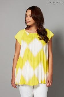 Live Unlimited Lime Zig Zag Sunray Pleat Top